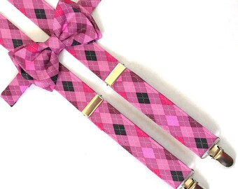 Pink, Black, Gray Argyl Suspenders and Bow Tie Set with Optional Newsboy Cap for infants, toddlers and young children.