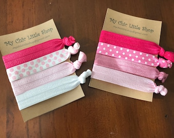 Set of 4 Elastic Hair Ties Pink Polka Dot Combo
