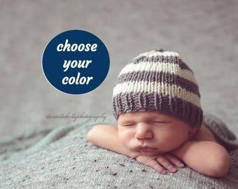 10 Colors - Striped Newborn Baby Hat, Newborn Baby Beanie, Newborn Photo Prop Hat, Newborn - Ready to Ship