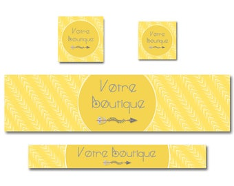 Banner for Etsy Shop banner design, banner personalized yellow boho