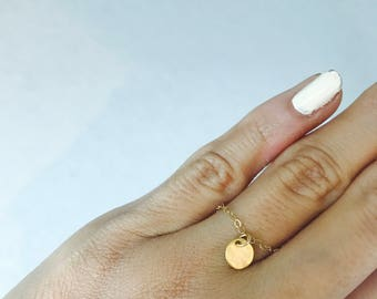 Gold Coin Ring Gold Disc Ring Dainty Ring Minimalist Ring Gold Ring 14 K Gold Fill