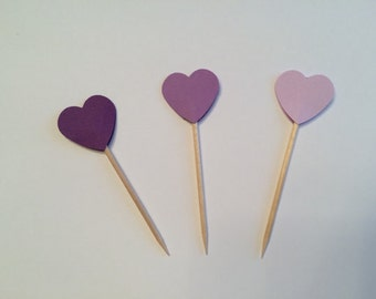 24 purple heart toothpicks, baby shower, birthday party, wedding shower, retirement party, appetizer picks, food picks, cupcake toppers