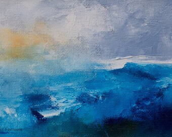 Original Abstract oil painting,Seascape 28, sea, ocean, waves, texture, atmospheric, modern art, 6x4 inches matted