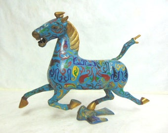 Vintage Antique Chinese Cloisonne Ming Style Horse Figure