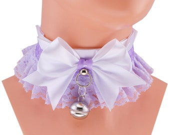 white collar DDlg collar Kitten Play Collar lilac collar Pet Play Collar Choker Kittenplay Collar BDSM ddlg Goth kawaii lolita collar D4