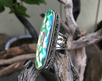 Rainbow Mystic Topaz Ring, Size 9 Sterling Silver Ring, Big Crystal Ring, Gemstone, Bohemian, Boho, Gypsy, Hippie, Witch, Energy SS70