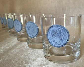 Whisky Glasses, Vintage Bar Glasses, Coin Emblem Glass, Roman Coin Glass,  Wedding