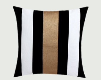"""Decorative Pillows, Cotton Black-White Throw pillow case with gold faux leather accent 8, 16""""x16"""",  Cushion case, Toss pillow case."""