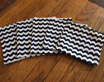 READY TO SHIP Wavy Navy Reusable Snack Bags -3 pack