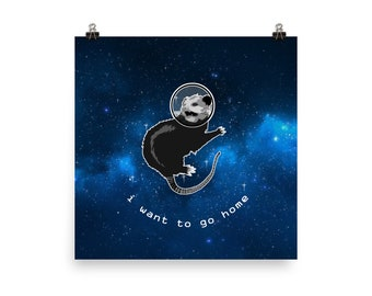 I Want to Go Home Space Possum Poster
