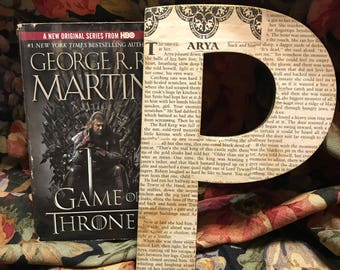 "Game of Thrones - 8"" Book Page Letter - Custom Made"