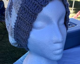 Slouch hat crochet, gingham, winter, fall, warm, cozy, slouchy, yarn, adult