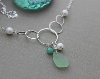 Genuine sea glass wire wrapped sterling silver necklace with freshwater pearls, chrysoprase, mint green sea glass, Sterling silver Bubbles