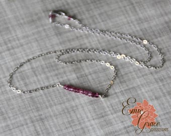 READY TO SHIP - Pink Tourmaline Gemstone Bar Necklace, Sterling Silver, October Birthstone Necklace