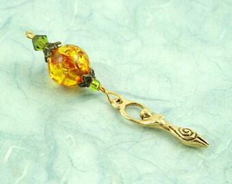 Blessingway bead - Golden Sunlight Birth Goddess - Mother Blessing bead, mama goddess