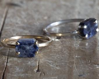 Raw Sapphire Hexagon Ring