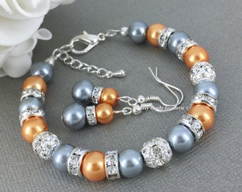 Orange Bracelet Bridesmaid Gift Grey Bracelet Pearl Bracelet Pearl Jewelry Maid of Honor Gift Wedding Jewelry Gift for Her Mother of Groom