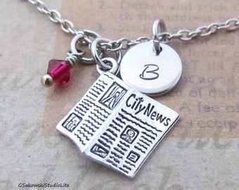 Newspaper Charm Necklace, Personalized Hand Stamped Initial Monogram Birthstone Antique Silver Journalist Charm Necklace