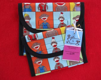 Sock Monkey Yearbook Reusable Lunch Bag Set of 2 - Snack and Sandwich Size