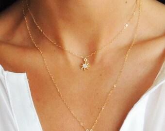 Starburst necklace etsy starbrite necklace 14k gold filled celestial starburst necklace tiny minimal star necklace on delicate gold mozeypictures Images