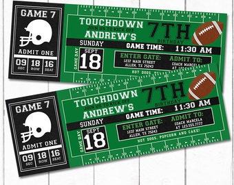 Custom Football Printable Birthday Invitation, Football Ticket Invitation, First Birthday Boy, Sports Ticket, Sports Party