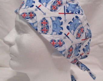 CLEARANCE---Men's Scrub CapWhite with Minions and Union Jack Flag