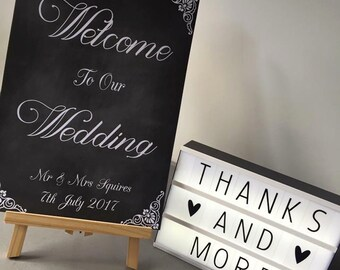 Personalised Welcome to our wedding sign. Wedding print, chalk effect A3/A4 size