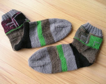 Leftover socks, knitted socks made of wool remnants-unique, good mood-socks-Gr. 37,
