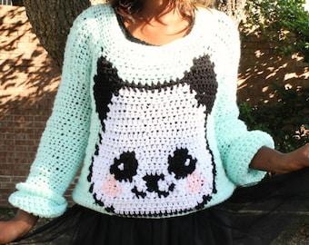 The Sweet Panda Crochet Sweater Pattern. Instant Download!