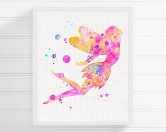 Fairy Art Print, Watercolor Fairy, Fairy Nursery Decor, Fairy Poster, Fairy Wall Art, Baby Girl Nursery, Baby Nursery Art, Nursery Wall Art