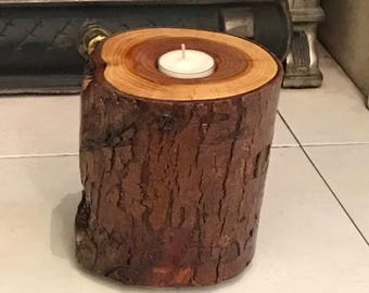 Candle Holder Tea Light Wood Log Trunk Tree Stump Handmade Natural Treated