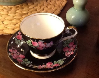 Antique Aynsley Bone China Teacup and Saucer Black With Clover Pattern