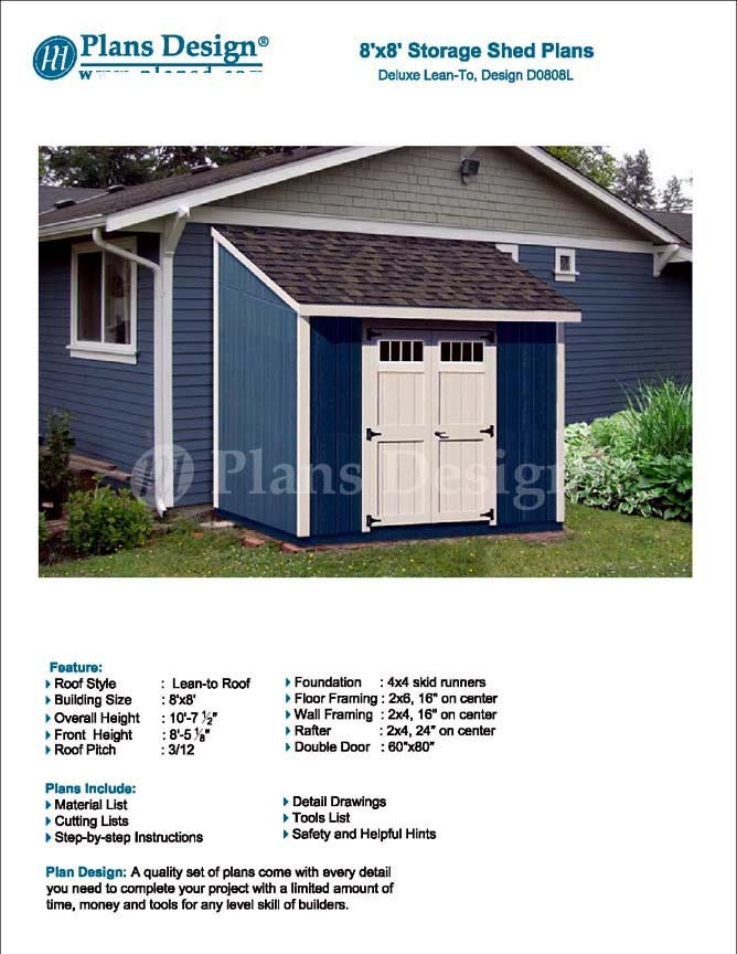 8\' x 8\' Garden Storage Lean-to Shed Plans / Blueprints, Material ...