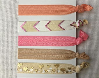 Rose Gold Chevron Collection Hair Ties