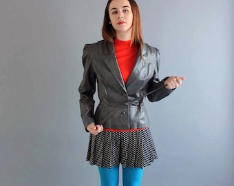 1980s leather jacket . womens vintage leather jacket . gray leather jacket with shoulder pads . womens leather jacket by Bermans