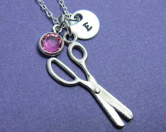 Scissors Necklace - Personalized Initial Name, Customized Swarovski crystal birthstone