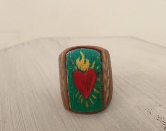 Wooden ring, Sacred Heart, ex ring vote.