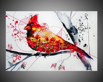 Cardinal watercolor painting, Cardinal painting, Bird painting, Bird nursery, Cardinal nursery, Watercolor cardinal, Cardinal decor