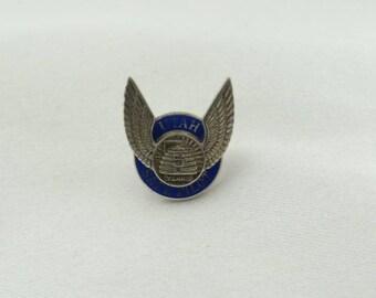 Unique 5 Year Utah Safe Pilot Sterling Silver Ans Blue Enamel Lapel Pin/Tie Tack FREE SHIPPING! #PILOT-BR4