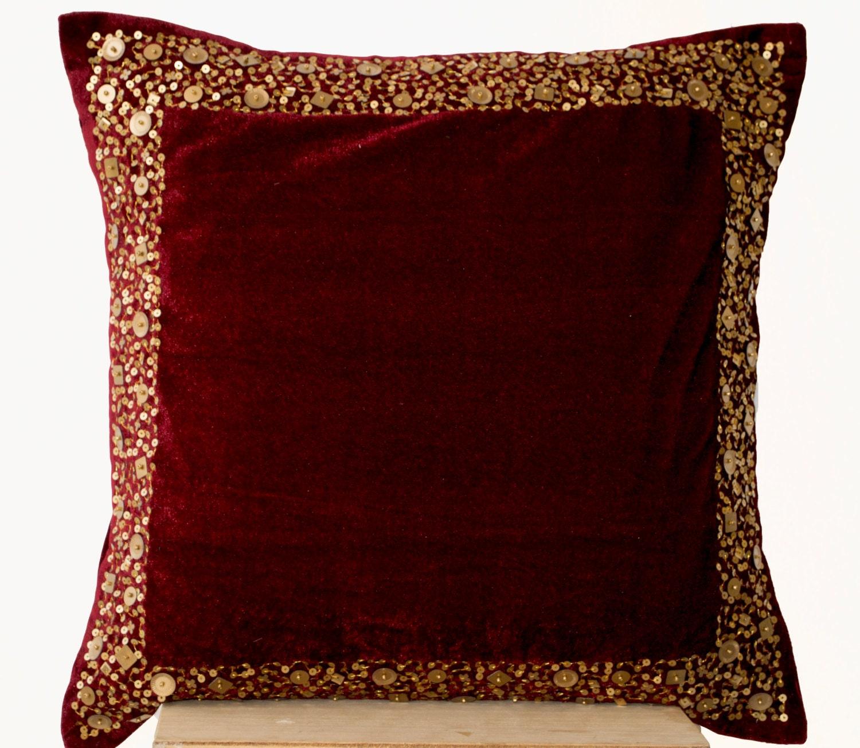 🔎zoom. velvet throw pillow cover maroon velvet cushion with gold