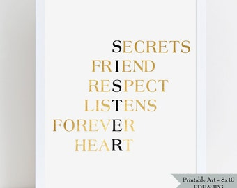 SISTER Printable Wall Art - Gift for Sister - Gold Foil Effect with Black Lettering - Sister is Best Friend - 8x10 - Instant Download