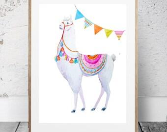Llama print, Printable llama art, nursery room art, White llama, Cute animal print,alpaca print, Floral magenta print, llama poster,