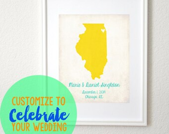 Wedding Love Any State or Country Customizable 8x10 Art Print. Wedding Map. Wedding Gift. Couples Gift. Engagement Gift. Anniversary Gift.