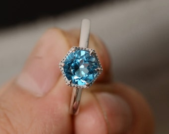 Swiss Blue Topaz Ring Solitaire Ring Sterling Silver
