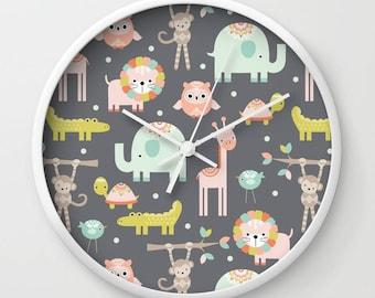 Safari Animals Clock, Safari Animal Wall Clock, Jungle Animals Clock, Animal Clock, Kids Clock, Childs clock, Childrens Clock, bedroom clock