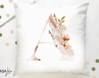 Decorative Personalised Cushion, A Initial Cushion, Personalised Pillow, Personalised Pillow, Home Decor, Nursery Decor, Square Pillow