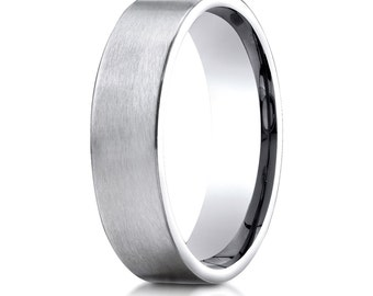 14kt White Gold Flat Comfort Fit Wedding Ring 6mm Satin Finish, Flat Band, 6mm Flat Band, 6mm Flat Ring, Satin Finish wedding ring