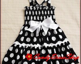 Black and white polka dot dress, Girls big polka-dot dress, Halloween dresses, Girls birthday dress, Black and white dress, Easter dresses