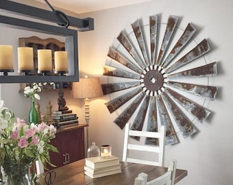 Huge 60 Inch Metal Windmill Wall Art - Large Wall Space Decor - farmhouse decor-Housewarming-home decor- windmill blades-art - rustic art : large metal wall art - www.pureclipart.com