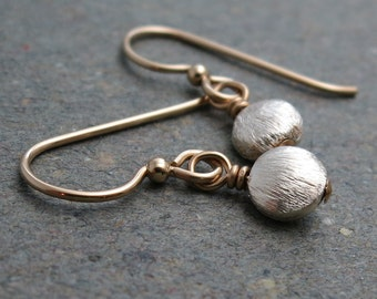 Silver and Gold Earrings Minimalist Petite Mixed Metals Bead Drop Earrings
